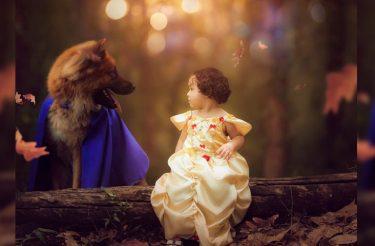 A coisa mais fofa que você vai ver hoje: Bebê e cachorro fazem ensaio como a Bela e a Fera