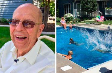 Após morte da esposa, homem de 94 anos constrói piscina em casa para não se sentir só