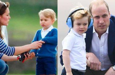 Por que o príncipe William se agacha sempre que fala com o filho?