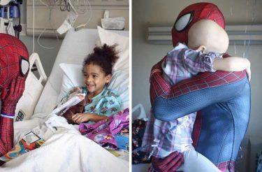 Jovem herói vende carro para alegrar crianças doentes como Homem-Aranha e sua história emocionante viraliza