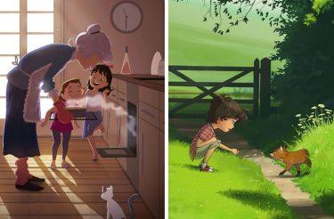 Este artista ilustra suas doces memórias de infância tão bem que muitos estão se identificando