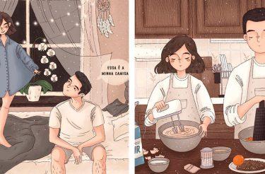 Ilustradora capta com perfeição as pequenas alegrias diárias de um casal