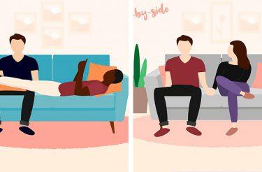 O que a sua posição no sofá diz sobre o SEU relacionamento? Especialista em linguagem corporal explica