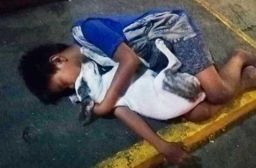 O garoto que dorme na rua abraçando seu cachorro, sua única família